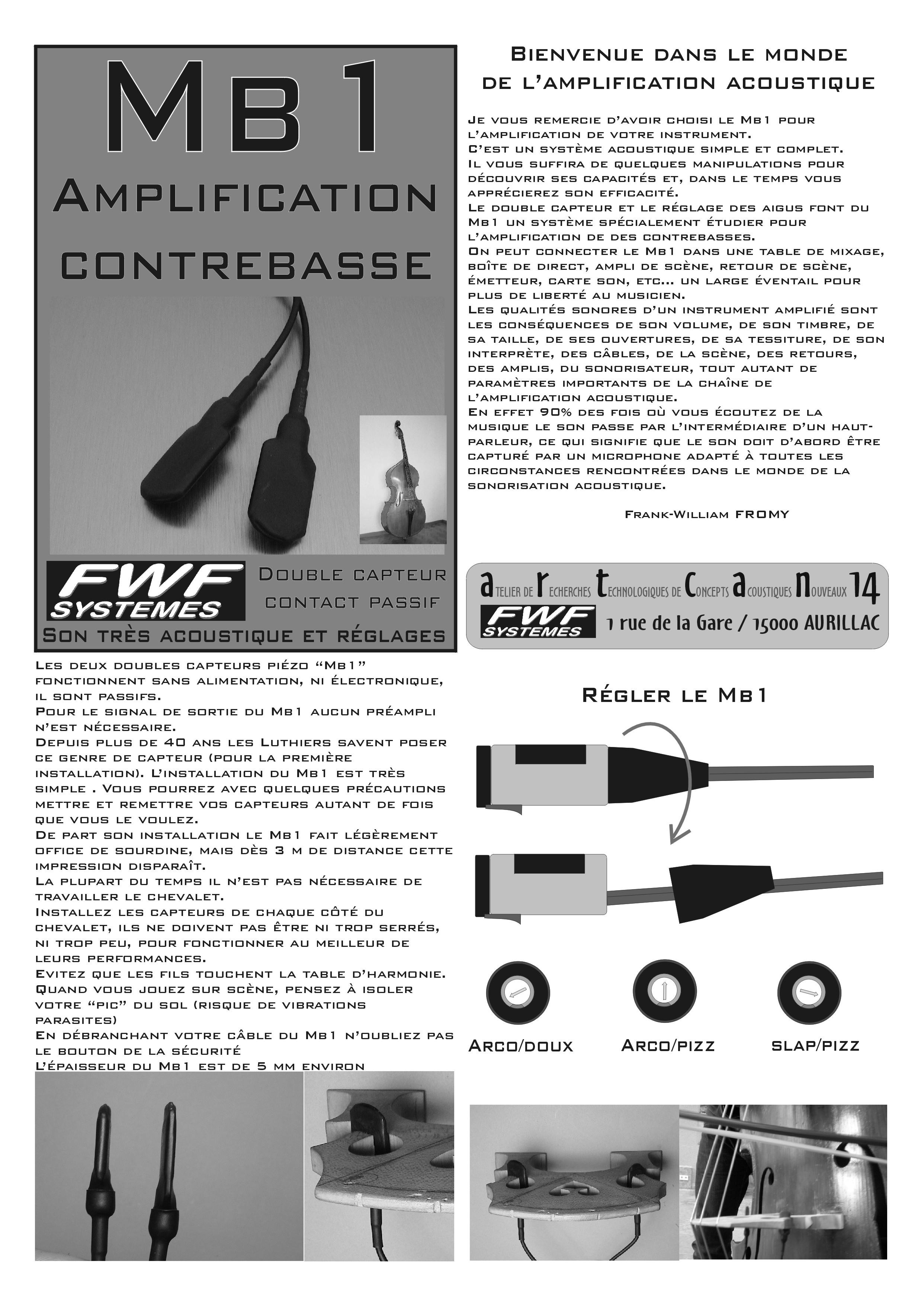 capteur fwf contrebasse mb1